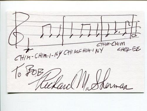 Richard M. Sherman Disney Composer Chitty Chitty Bang Signed Autograph Quote AMQ