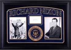 "Richard Nixon Autographed Cut Deluxe Horizontal Framing 3"" x 5"" PSA Slab"