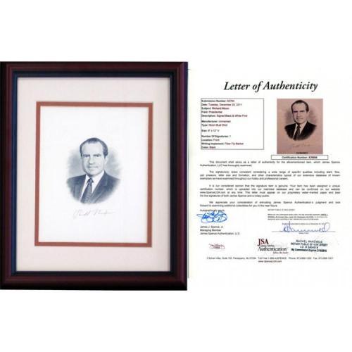 Richard Nixon Autographed Framed 8x10 Photo