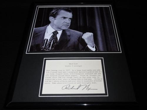 Richard Nixon Facsimile Signed Framed 11x14 Meat Loaf Recipe & Photo Display