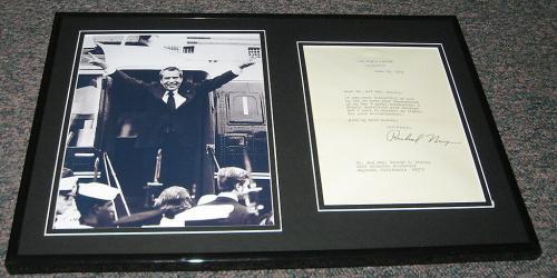 Richard Nixon Facsimile Signed Framed Letter & Peace Photo Display 1970