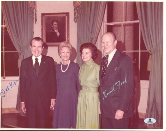 Richard Nixon & Gerald Ford Signed 11X14 Photo BAS #A00362