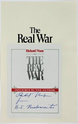 Richard Nixon & H.J. Niederreiter Signed The Real War Book Plate PSA/DNA #P25909