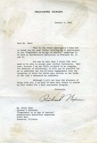 Richard Nixon Psa/dna Signed 1962 Letter Authentic Autograph