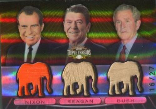Richard Nixon, Ronald Reagan & George W. Bush Unsigned 2007 Topps Triple Threads Bat Card