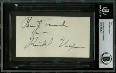 Richard Nixon Signed 2.5x4.5 Cut Signature Autographed BAS Slabbed