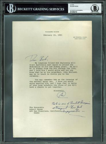 Richard Nixon Signed 7.25x10.5 Letter Dated Feb. 23, 1983 BAS Slabbed