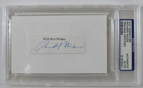 Richard Nixon Signed Auto Autograph Cut Signature PSA/DNA V