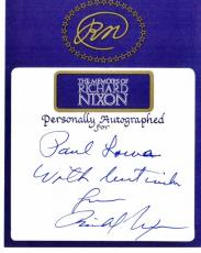 Richard Nixon Signed - Autographed 5x4 inch Bookplate Cut - Deceased 1994 - 37th President - Guaranteed to pass PSA or JSA
