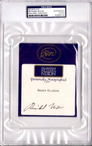 Richard Nixon Signed - Autographed 5x4 inch Bookplate Cut - Deceased 1994 - 37th President - PSA/DNA Certificate of Authenticity (COA) - PSA Slabbed Holder 7x10 inches