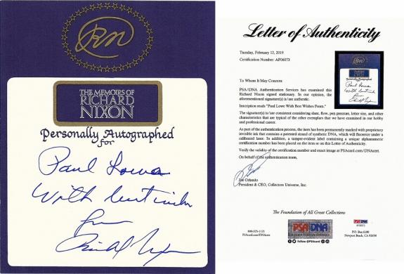 Richard Nixon Signed - Autographed 5x4 inch Bookplate Cut personalized to Paul Lowe - Deceased 1994 - 37th President + PSA/DNA FULL Letter of Authenticity (LOA)