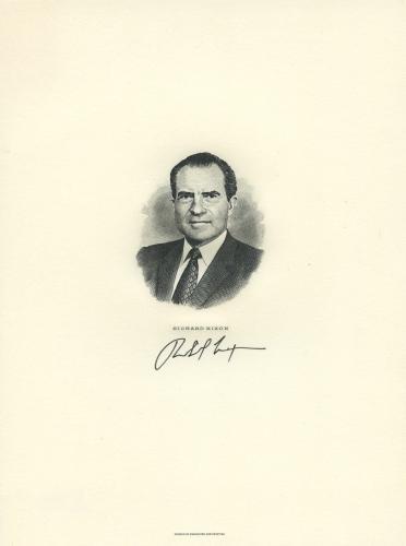 00richard Nixon Signed Autographed Official 5x7 Engraving Beckett Bas Coa