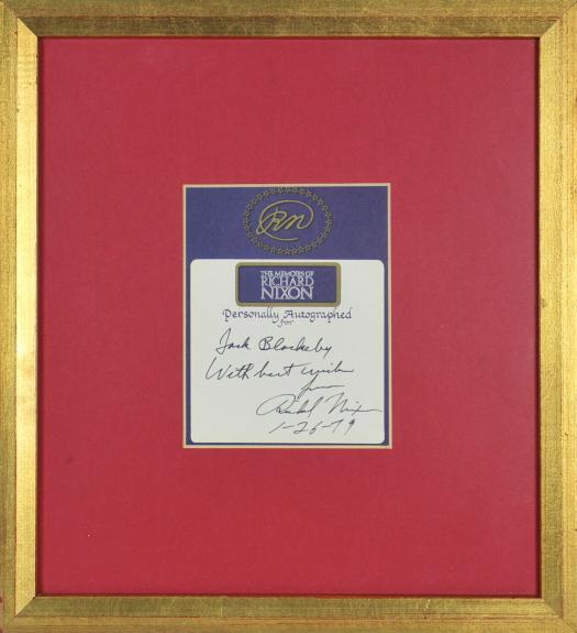 Richard Nixon Signed & Framed 4x5 Bookplate Cut Signature BAS #A72908