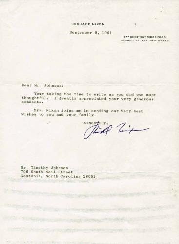 Richard Nixon Signed Letter September 9 1991 President Jsa Loa X69096