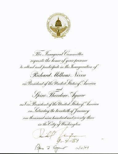 Richard Nixon & Spiro Agnew Signed Inauguration Invitation BAS #A05117