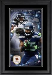 Richard Sherman Seattle Seahawks 10'' x 18'' Vertical Framed Photograph with Piece of Game-Used Football - Limited Edition of 250