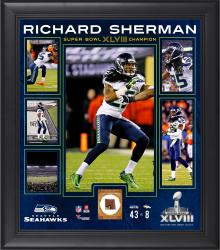 "Richard Sherman Seattle Seahawks Super Bowl XLVIII Champions 15"" x 17"" Framed Collage with Game-Used Ball"