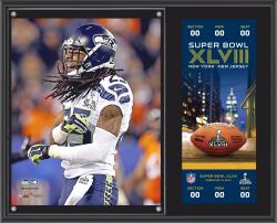 "Richard Sherman Seattle Seahawks Super Bowl XLVIII Champions Sublimated 12"" x 15"" Plaque with Replica Ticket"