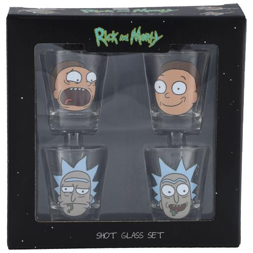 Rick and Morty Official 4 Pack Shot Glass Set