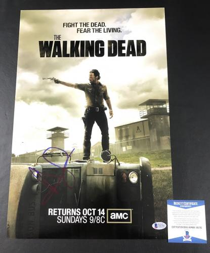 Rick Grimes Andrew Lincoln Signed Auto The Walking Dead 12x18 Photo Beckett Coa
