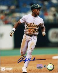 "Rickey Henderson Oakland Athletics Autographed 8"" x 10"" Running Photograph - Mounted Memories"