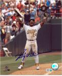 Rickey Henderson Oakland Athletics Autographed 8'' x 10'' Celebration Photograph - Mounted Memories