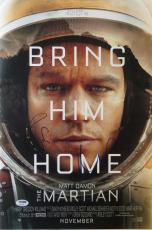 Ridley Scott & Matt Damon Signed The Martian Auto 12x18 Poster PSA/DNA #AB61962