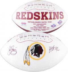 John Riggins Washington Redskins Autographed White Panel Football with HOF 92 Inscription - Mounted Memories