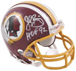 John Riggins Washington Redskins Autographed Riddell Mini Helmet with HOF 92 Inscription - Mounted Memories