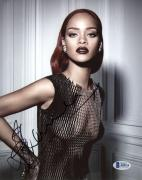 "Rihanna Autographed 8""x 10"" Wearing See Through Dress Photograph - Beckett COA"