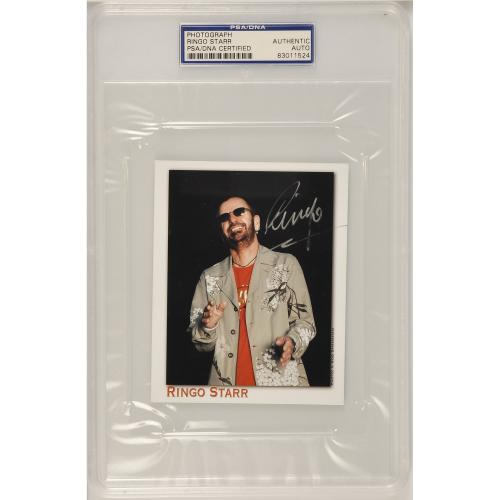 "Ringo Starr Autographed 4"" x 6"" Slabbed Photo - PSA 83011524"