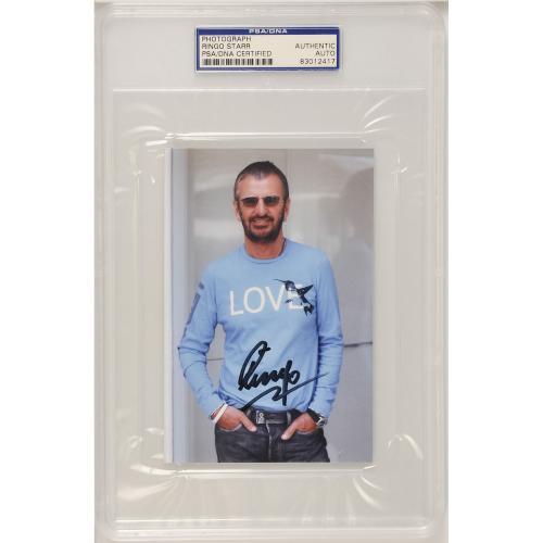 "Ringo Starr Autographed 4"" x 6"" Slabbed Photo - PSA 83012417"