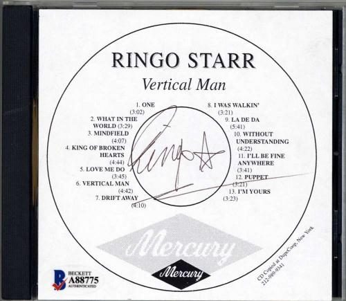 Ringo Starr Signed Autographed The Beatles CD Cover Vertical Man Beckett BAS