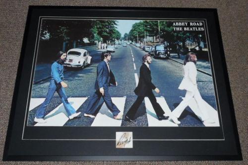 Ringo Starr Signed Framed 30x39 Beatles Abbey Road Poster Display JSA LOA