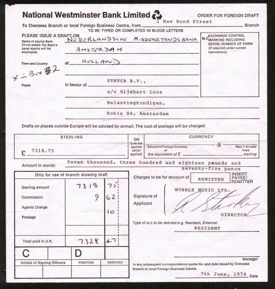 "Ringo Starr (Signed ""R. Starkey"") Signed 8x8.5 1974 Bank Document PSA #Z08538"