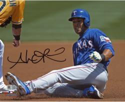 """Alex Rios Texas Rangers Autographed 8"""" x 10"""" Blue Jersey Sliding Photograph"""