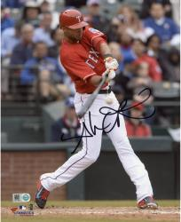 Alex Rios Texas Rangers Autographed 8'' x 10'' Red Uniform Hitting Photograph - Mounted Memories
