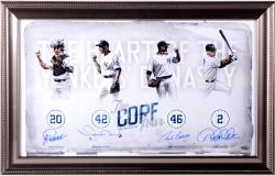 "Mariano Rivera, Derek Jeter, Jorge Posada, & Andy Pettitte New York Yankees Framed Autographed 14"" x 24"" Heart Photograph"