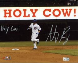 "Anthony Rizzo Chicago Cubs Autographed 8"" x 10"" Holy Cow Photograph with Holy Cow Inscription"