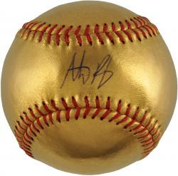 Anthony Rizzo Chicago Cubs Autographed 24KT Gold Baseball - Mounted Memories