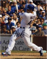 "Anthony Rizzo Chicago Cubs Autographed 8"" x 10"" White Uniform Black Signature Photograph"