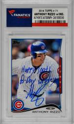 Anthony Rizzo Chicago Cubs Autographed 2014 Topps #71 Card with Happy 100th B-Day Wrigley Inscription