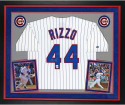Anthony Rizzo Chicago Cubs Autographed Deluxe Framed Majestic Replica Pinstripe Jersey