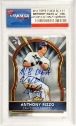 Anthony Rizzo San Diego Padres Autographed 2011 Finest Rookie #97 Card with MLB Debut 6/9/2011 Inscription