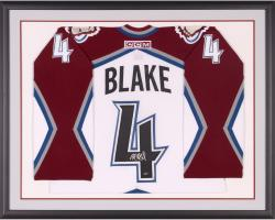 Framed Rob Blake Autographed Avalanche Jersey