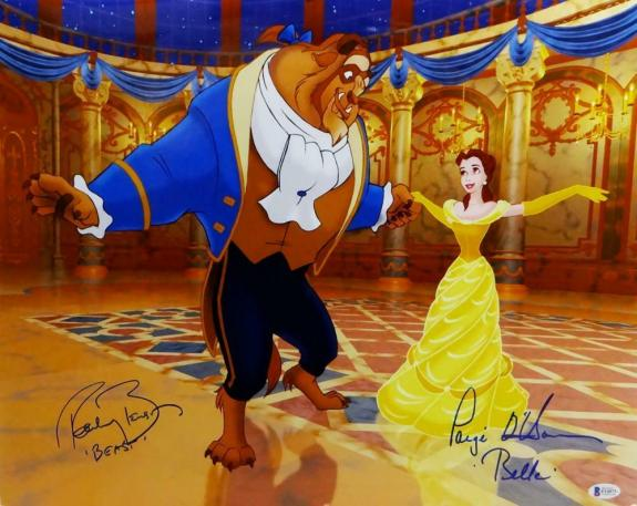 Robby Benson & Paige O'Hara Signed 16x20 Beauty And The Beast Poster-Beckett Aut