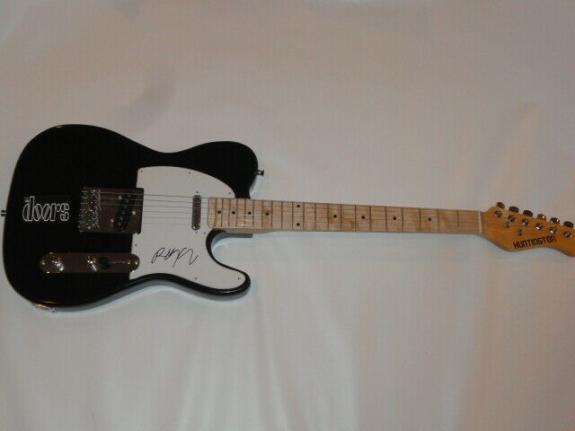 Robby Krieger Signed Black Electric Guitar The Doors Proof Autographed Jsa Coa