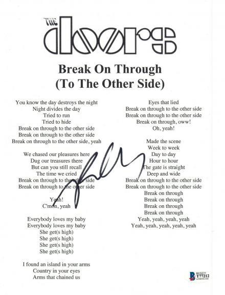 Robby Krieger Signed The Doors BREAK ON THROUGH Song Lyric Sheet Beckett BAS COA