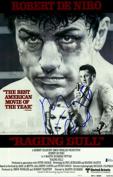 "Robert De Niro Autographed 12"" x 18"" Raging Bull Movie Poster - Beckett COA"