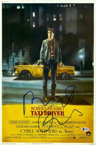 "Robert De Niro Autographed 12"" x 18"" Taxi Driver In Color Movie Poster - Beckett"